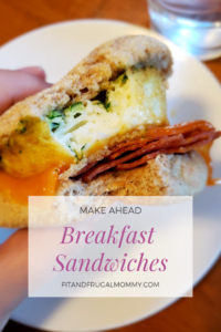 Make Ahead Breakfast Sandwiches, a healthy breakfast for busy mornings! A quick breakfast. #weightloss #fitandfrugalmommy #healthyrecipes #quickhealthyrecipes #breakfastrecipes