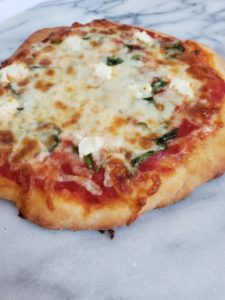 How to make two ingredient dough pizza, a quick and easy healthy dinner recipe.