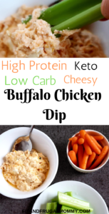 High Protein Low Carb Buffalo Chicken Dip, a healthy keto snack recipe or lunch recipe that will keep you full for hours! #fitandfrugalmommy #healthyrecipes #health #eatclean #lowcarb