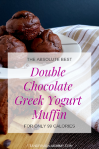 The 99 Calorie Double Chocolate Greek Yogurt Muffin, a low calorie muffin recipe that you can enjoy without any guilt.