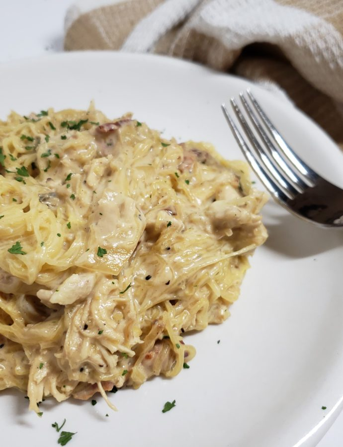 Low Carb Chicken Caesar Spaghetti Squash