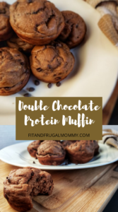 Double Chocolate Protein Muffin, a quick, easy, healthy snack recipe. Greek yogurt muffin recipe.