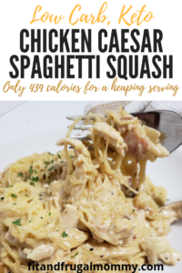 Chicken Caesar Spaghetti Squash. A low carb, keto dinner recipe that's so creamy and delicious. A low in calorie dinner that's big on flavour!