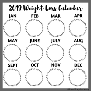 Free 2019 Weight Loss Calendar for Instagram #fitandfrugalmommy