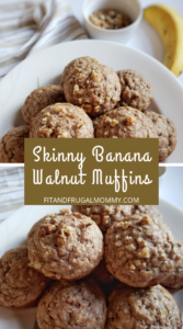 Skinny Banana Walnut Breakfast Muffin, a quick and easy, low calorie, healthy breakfast recipe that's easy to meal prep and great for on the go.
